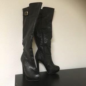 Material Girl Black Knee High Boots